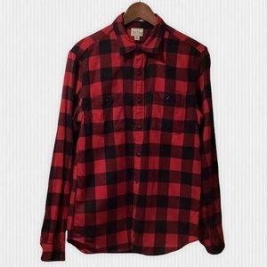 J. Crew Buffalo Plaid Cotton Flannel Shirt Slim M